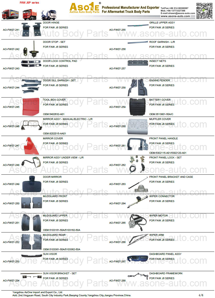 Faw J6 Heavy Truck Cabin Body Parts And Accessories